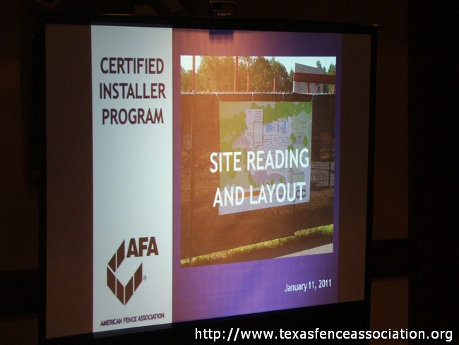 Texas Fence Association - Certified Installer Program Class